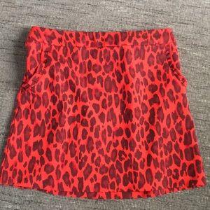 Kate Spade Red leopard girls back zip skirt 12